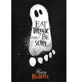 Ghosts halloween poster chalk vector image