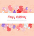 happy birthday card design with balloons in vector image