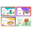 isometric landing page templates for vector image vector image
