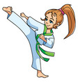 karate kick girl vector image