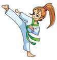 karate kick girl vector image vector image