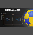 korfball court and korfball ball realistic details vector image