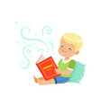 little kid sitting on pillow with vector image vector image