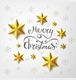 merry christmas inscription with golden stars vector image