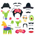 mexican fiesta party symbols and photo booth props vector image vector image