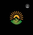 mountain with sunrise logo vector image