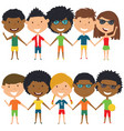 multiracial people standing and holding hands vector image vector image