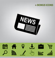 newspaper sign black icon at gray vector image vector image
