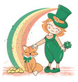 patrick rainbow saint patrick day cartoon vector image