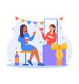 people celebrating birthday meeting friends vector image vector image