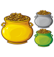 pot gold coins vector image