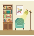 Reading nook with armchair and floor lamp vector image vector image
