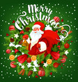 santa with christmas gift greeting card design vector image