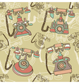 seamless pattern with retro telephone vector image