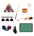 set of flat style pool billiard snooker objects vector image
