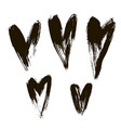 set of hearts ink brush on white vector image