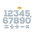 set of numbers and mathematical signs vector image