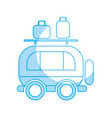 silhouette van transportation with bags to travel vector image vector image