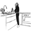 sketch of woman on kitchen hand drawn vector image
