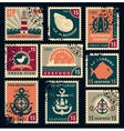 stamps on seafood restaurants vector image vector image