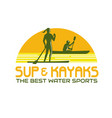 sup and kayak water sports retro vector image