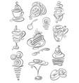sweet hand drawn doodles with coffee tea latte vector image vector image