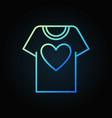 t-shirt with heart blue outline icon vector image vector image