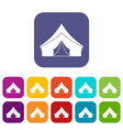 tent with a triangular roof icons set flat vector image vector image