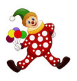 the funny clown holding balloons vector image