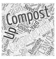 The Pros of Composting Versus the Cons Word Cloud vector image vector image