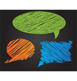 Three colorful doodle style speech bubbles vector image
