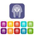 tutankhamen mask icons set flat vector image vector image