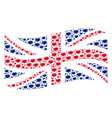 waving great britain flag collage of boom bang vector image vector image