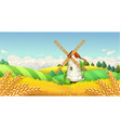 Wheat field Windmill landscape Horizontal vector image vector image