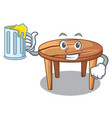with juice cartoon wooden dining table in kitchen vector image