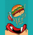 woman mouth eating a burger vector image vector image