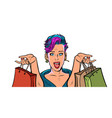 woman shopping on sale isolate on white vector image