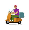 young man on scooter wearing helmet fast delivery vector image vector image