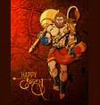 lord hanuman on happy dussehra navratri festival vector image