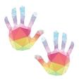 colorful hand prints poligonal art vector image