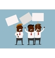 Group of businessmen protesting with placards vector image