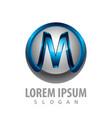 3d initial m letter logo concept design symbol vector image vector image