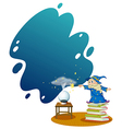 A wizard at the top of the piled books vector image vector image