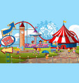 an outdoor funfair scene with many children vector image vector image