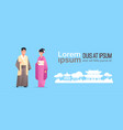 asian couple wearing traditional clothes man woman vector image vector image