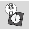 camera film vintage with movie countdown film vector image vector image