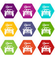 car and key icon set color hexahedron vector image vector image
