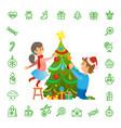 christmas holidays preparation tree decoration vector image