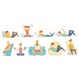 collection home leisure boys and girls rested vector image vector image