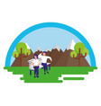 couple sitting on bech park city vector image